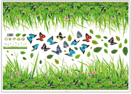 Wholesale Wall Decor Stickers Black Flowers - Simulation green flowers butterfly baseboard wall stickers home decor living room diy art decal removable wall sticker