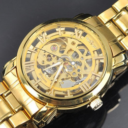 Wholesale Skeleton Mechanical Fashion Luxury Watch - Mens Gold Skeleton Steel Self Mechanical Watch Dress for men women Fashion Wristwatch Original Brand Winner