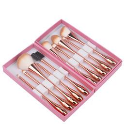 Pequenos conjuntos de ouro on-line-Princesa Rosa 10 Gotas De Água Pequena Cintura Pincéis de Maquiagem Profissional Make Up Brush Box Kit Kit Rose Gold Cosméticos Escovas ferramentas