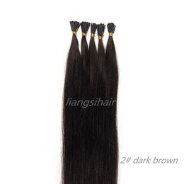 "Wholesale I Tip Remy Hair - Brazilian Hair Bundles Style Brazilian Indian Peruvian Malaysian Remy Human Hair Extensions 15""-26"" 100s 2# Dark Brown I-tip Hair"