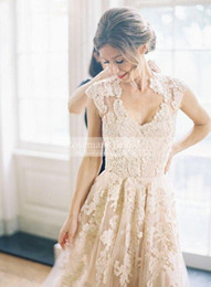Wholesale Discount Short Formal Dresses - A Line Lace Wedding Dresses Custom Made white Ivory Pink Champagne Formal Wedding Gowns Discount