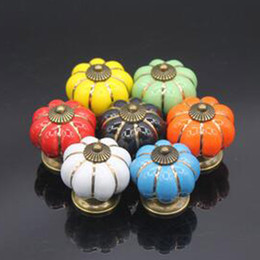 Wholesale Cabinets Pulls - 4*4*4 cm Kitchen Cabinets Knobs Bedroom Cupboard Drawers 7 Colors Ceramic Door Pull Handles With Screws