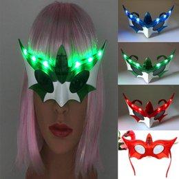 Wholesale Led Glowing Eyes Mask - 2017 New Bat LED Flashing Glasses Light-Up Eye Glasses Mask Bar Night Club Dress Decorations Halloween Glow Party Supplies