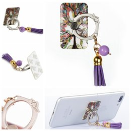 Wholesale Tassel Mobile - Fashion Tassel Pendant Universal Finger Metal Ring 3M Stand holder For Iphone For Ipad For Samsung Pad Tablets Cellphone Mobile Phones 10pcs