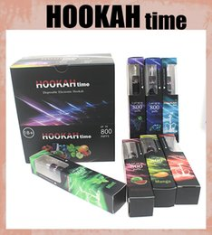 Wholesale Disposable Box Cigarette - New Style Colorful Brand Disposable Smoke Hookah Time 800 Puffs Hookah Pen Crystal Tip High Quality E Cigarette With Retail Box HK002