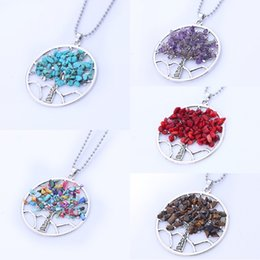 Wholesale Gem Stones Sale - 2018 Hot Sale 7 Chakra Natural Gem Stone Gravel Beads Round Tree Of Life Pendant Necklace Girl Women Gift Free DHL D272S