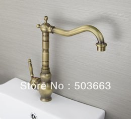 Wholesale Vanity Sinks Bowls Faucets - Classic 1 Handle Antique brass Finish Kitchen Sink Swivel Faucet Mixer Taps Vanity Brass Faucet L-9021 Mixer Tap Faucet