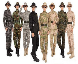 Wholesale Military Combat Uniforms - Fall-Combat Loose Camouflage Jacket Pant Man Anti-resistance Anti-dirty BDU CP ACU Suit Army Military Uniform Plus Size 22colors
