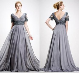 Wholesale Elie Saab Lace Evening Dresses - Elie Saab Vintage Mother Of Bridal Dresses 2016 A Line V Neck Appliques Chiffon Plus Size Evening Dress Backless Gray Mother's Prom Gowns