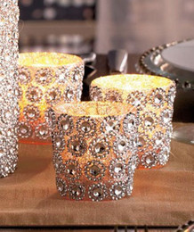 "Wholesale Wedding Cake Bling Decorations - Wholesale-Silver 3.75"" 10Yards 6rows Daisy Flower Diamond Mesh Bling Crystal Ribbon Wrap Trim Wedding Cake Candle Holder Decoration"