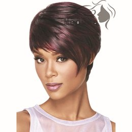 Wholesale Black Pixie Wig - Synthetic Hair Women's Wigs Short Bob Wig Fake Hair Straight Short Wigs for Black Women Color Pixie Cut Female African American