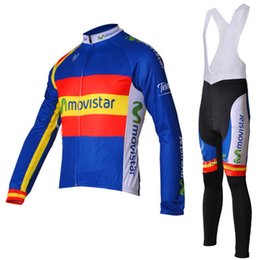 Wholesale Long Bib Movistar - 2012 Movistar Team Spain champions Long Sleeve Jersey Ropa Ciclismo Cycling Clothing + Cycling Bib Outdoor Suit Size:S-XXXL