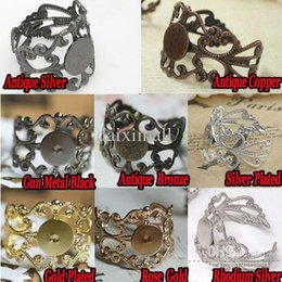 Wholesale Adjustable Blank Rings - Free Shipping!!! Fashion Ring Settings Eight Colors, Wholesale 50pcs 8mm Flat Pad Filigree Adjustable RING BLANK BASE