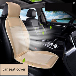 Wholesale Cooling Car Summer Seat Cushion - 12V Cool Fan Car Seat Covers Universal Fit SUV sedans Chair Pad Cushion with Motor driving square summer ventilation
