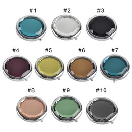 Wholesale Compact Girls - 100PCS Cosmetic Compact Mirror Crystal Magnifying Make Up Mirror Wedding Gift for Guests Mix Colors Best Gift for women and girls 0605003
