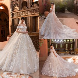 Wholesale Off White Lace Veil - 2018 Crystal Design Beach Wedding Dresses With Free Veil Off Shoulder Sweep Train Applique Plus Size Wedding Dress Bohemian Bridal Gowns