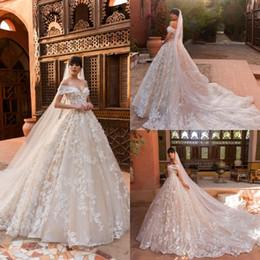 Wholesale Off White Bridal Veils - 2018 Crystal Design Beach Wedding Dresses With Free Veil Off Shoulder Sweep Train Applique Plus Size Wedding Dress Bohemian Bridal Gowns