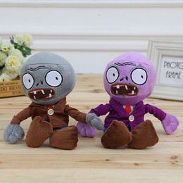 2019 juguetes de planta vs zombie gratis FG1511 28 cm gris y púrpura Zombie Plants Vs Zombies de peluche de juguete de peluche de felpa muñeca para el bebé regalos creativos envío gratis juguetes de planta vs zombie gratis baratos