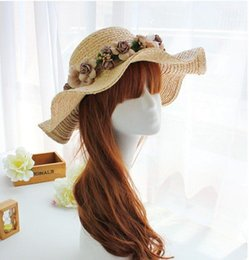 Wholesale Straw Wreaths - Wholesale-The new wave shape wreath female flowers Lafei straw hats summer sun hat along the Beach Resort