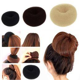 "Wholesale Rubber Buns - et of 3 Crowns for Hair Bun ""Donut"" Brown - 1 small (6cm diameter) + 1 medium (8cm) + 1 large (10cm) free shipping #6695"
