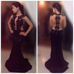 Wholesale Best Top Prom Dress - Best Selling Abendkleider 2016 See Through Top Black Lace And Sequined Mermaid Formal Gowns Sexy Long Evening Dress Prom Dresses