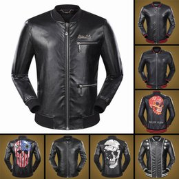 Wholesale Top Brand Winter Jackets - 2018 New fashion Men's Outerwear & Coats top quality leahter men jacket with skull print famous brand winter mens leather coat