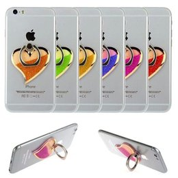 Wholesale Purple Heart Stickers - Brand new% heart-shaped 3D liquid Quicksand multi-functional dawdler fall folding and sticker type ring button cell phone bracket