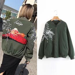 Wholesale Green Flower Street - Street Style 2017 Autumn and Winter New Flower Embroidery Long Sleeved Loose Women Baseball Uniform Cotton Coat Jacket Parkas