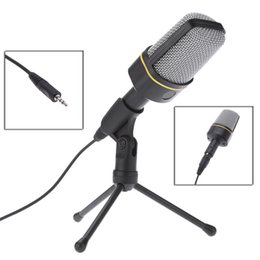 Wholesale Desktop Microphone For Pc - Professional Classic 3.5mm Condenser Microphone Karaoke Chatting Microphone with Special Tripod for Desktop Tablet PC Laptop V1000