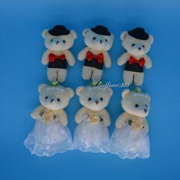 Wholesale Teddy Bear Couple Stuffed Animals - Pair Wedding Teddy Bear Plush Toys Stuffed Dolls Couple Bear Birthday Valentine Craft Wedding Stuffed Animals Plush Toys Gift