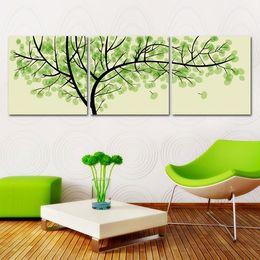 Peinture photo verte en Ligne-3 Pièces Livraison Gratuite Moderne Mur Peinture À L'huile Salon Décor Vert Argent Arbre Mur Art Photo Peinture Sur Toile Impressions