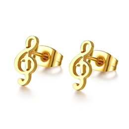 Wholesale Music Note Stud - 316L Stainless Steel 18k Gold Plated Music Notes Stud Earring Instrument Treble Clef Earring Jewelry