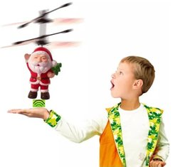 Wholesale Christmas Electric Santa - Electric Infrared Sensor Flying Santa Claus Induction aircraft Toys RC Helicopter Drone Toy Kids Christmas Gifts 50PCS by dhl