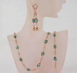 Wholesale Light Green Bracelet - Free Shipping Fashion Women's 18k Gold Austrian Crystal Necklace Bracelet Earrings Wedding Bride Jewelry Sets Gift