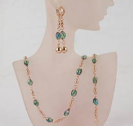 Wholesale Light Green Crystal Earrings - Free Shipping Fashion Women's 18k Gold Austrian Crystal Necklace Bracelet Earrings Wedding Bride Jewelry Sets Gift