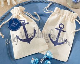Wholesale Burlap Baby - FREE SHIPPING!50pcs lot! Voyages Anchor rustic mini burlap drawstring wedding baby shower muslin candy favor gift bag,linen candy bag