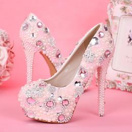 chaussures habillées couleur ivoire Promotion Fantaisie rose perle strass chaussures de mariée chaussures à talons hauts chaussures de mariage pour les filles
