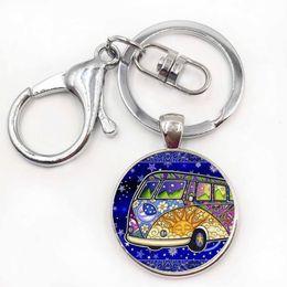 Wholesale Hippie Rings - new vintage Hippie Peace Sign Van Bus keychain fashion men women purse bag car pendant key chain ring holder jewelry