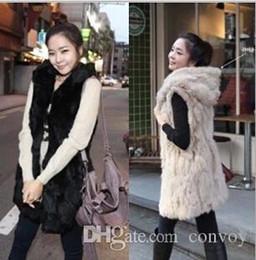Wholesale Faux Fur Vests For Women - Womens Faux Fox Fur Warm Vest Jacket Top Hooded Winterwear Long Waistcoat Vest Coats Wrap sleeveless Jacket Coat for Womens Free Ship WT26