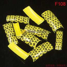 Wholesale Fresh Arts - 100pcs Fresh yellow color pattern design half cover french nail art tips acrylic half false nails art fake nail tips F108