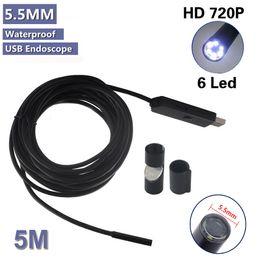 Wholesale Led Endoscope - 6 LED 5.5mm Dia Waterproof 5M USB Endoscope Borescope Inspection Wire Camera With Mini Camera Mirror Hook Magnet