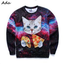 Wholesale Thin Sweatshirts For Women - FG1509 [Ada] 2015 Newest style 3d sweatshirts for Women both side print Cats eat pizza sweatshirt top hot thin style hoodies