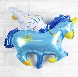 Wholesale Unicorn Balloon - 36*38cm New mini aluminum film balloon trumpet Pegasus Unicorn Foil Balloons