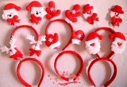 Wholesale Headband Parts - 2015 Hot Sale Christmas Party Supplies Hair Bands Bear Snowmen Santa Claus Decorations Headbands Kids Part Supply 100pcs lot