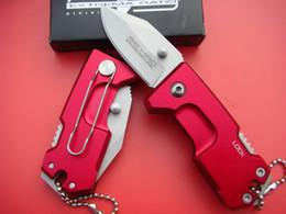 Wholesale Aluminum Oxides - OEM Extrema Ratio Mini Blue & Red 440C Blade Folding Knife Aluminum Oxide Handle Tail Lock Safety design Folding knife free shipping
