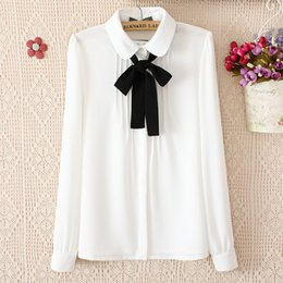 Wholesale Bow Tie Tops - New blouses for women fashion elegant bow tie white blouses chiffon casual shirt office wear Ladies tops blusas femininas womens clothing