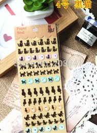 Wholesale Wholesale Pvc Sign Posts - Wholesale-New Creative Vintage Life series Gilding style PVC sticker-Black Cat  DIY note label sign Post Wholesale
