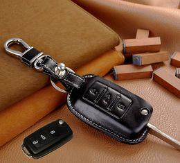 Wholesale Vw Key Ring Leather - Leather Car Key Cover Holder for Volkswagen VW Tiguan Golf 5 Bora Touran Touareg Skoda Octavia Car Key Leather Keychain Ring Remote Case