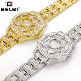 Wholesale Wrist Watch Movements Japan Quartz - BELBI Brand Name Ladies Wrist Watch Flower Diamond Design Japan PC21 Movement Gold Silver Provide ODM Wrist Watches and Accept OEM Service