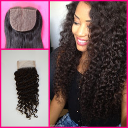 Wholesale Silk Top Hair Closure Curly - Malaysian virgin Silk Base Closure deep curly deep Wave Unprocessed Virgin Malaysian Human Hair free Middle 3 Part Top piece G-EASY